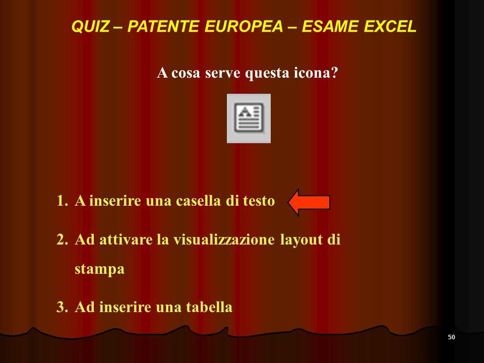 QUIZ – PATENTE EUROPEA – ESAME EXCEL A cosa serve questa icona