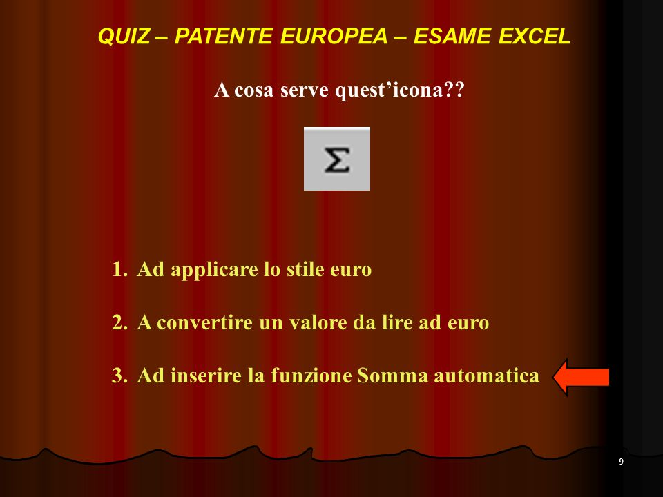 QUIZ – PATENTE EUROPEA – ESAME EXCEL A cosa serve quest'icona