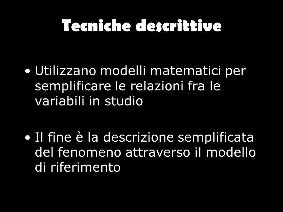 Tecniche descrittive Utilizzano modelli matematici per semplificare le relazioni fra le variabili in studio.