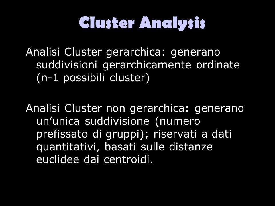 Cluster Analysis Analisi Cluster gerarchica: generano suddivisioni gerarchicamente ordinate (n-1 possibili cluster)