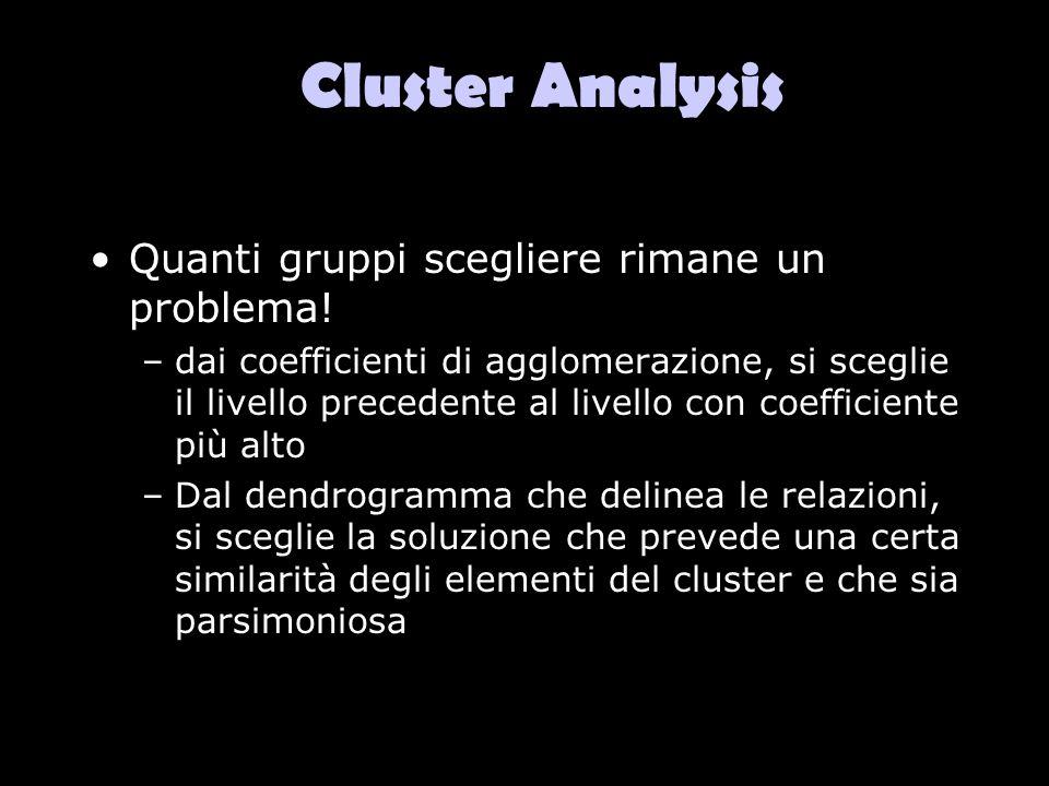 Cluster Analysis Quanti gruppi scegliere rimane un problema!