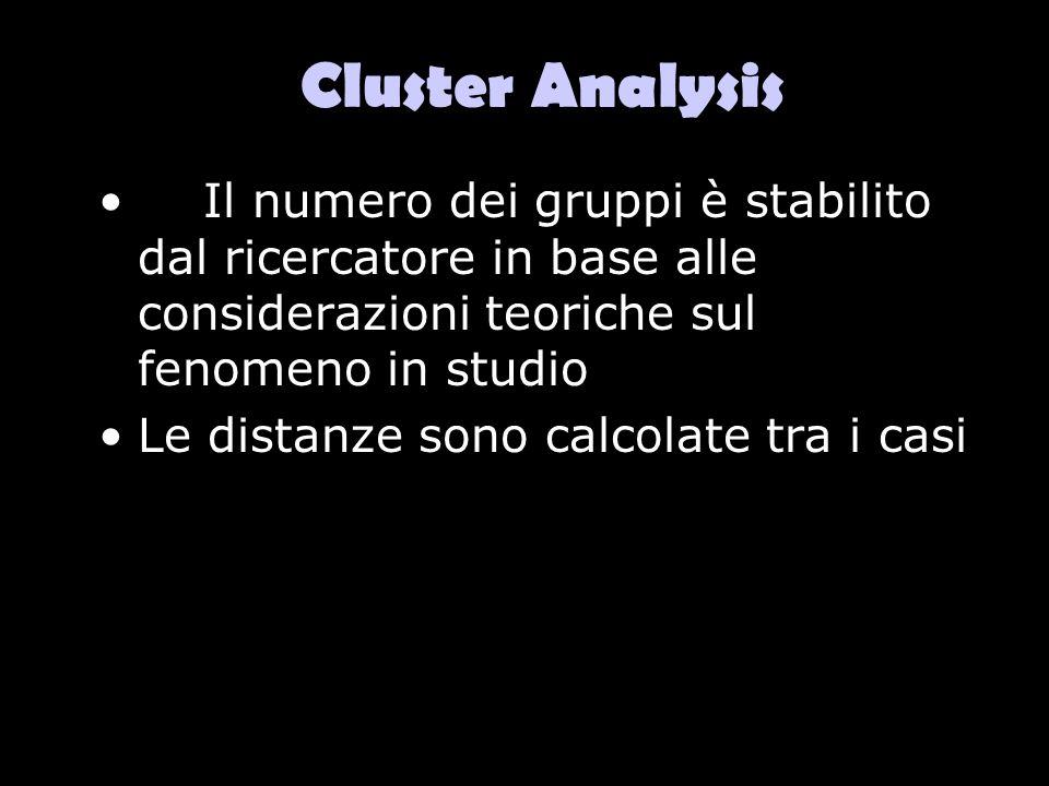 Cluster Analysis Il numero dei gruppi è stabilito dal ricercatore in base alle considerazioni teoriche sul fenomeno in studio.