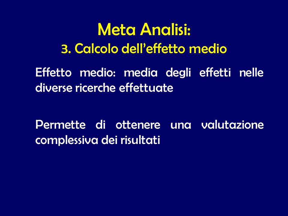 Meta Analisi: 3. Calcolo dell'effetto medio