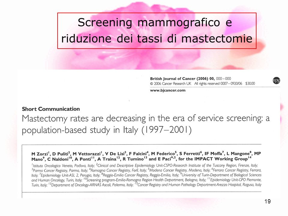 Screening mammografico e riduzione dei tassi di mastectomie