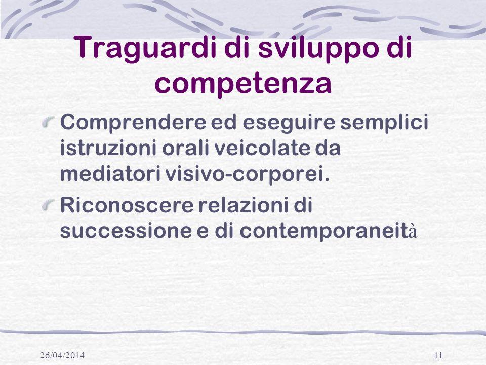 Traguardi di sviluppo di competenza