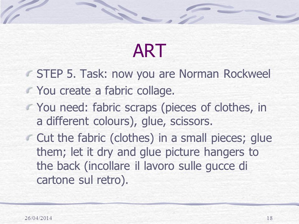 ART STEP 5. Task: now you are Norman Rockweel