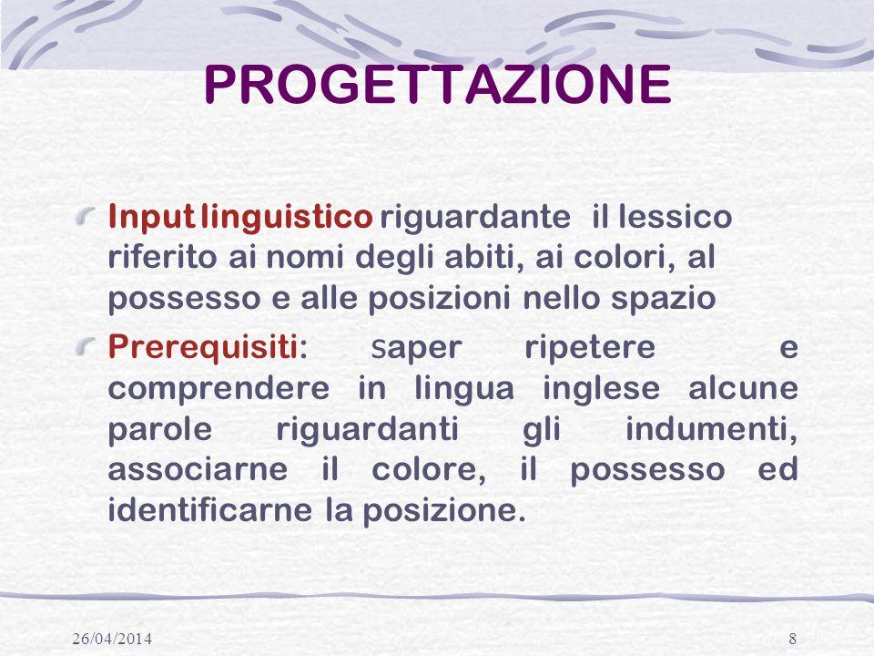 PROGETTAZIONE Input linguistico riguardante il lessico riferito ai nomi degli abiti, ai colori, al possesso e alle posizioni nello spazio.