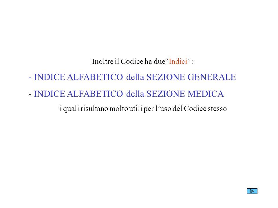 - INDICE ALFABETICO della SEZIONE GENERALE