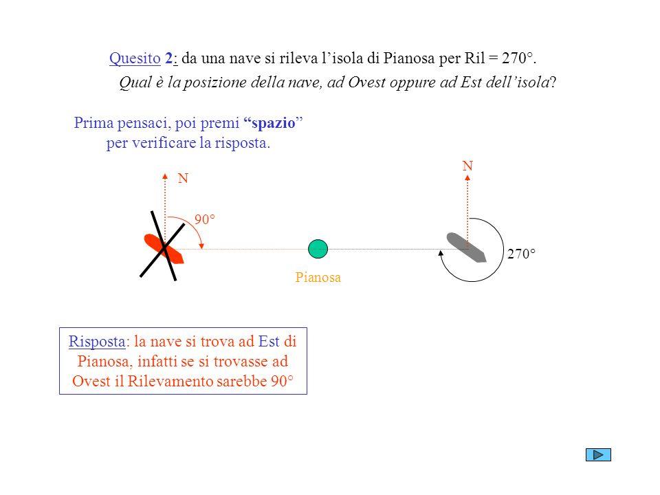 Quesito 2: da una nave si rileva l'isola di Pianosa per Ril = 270°.
