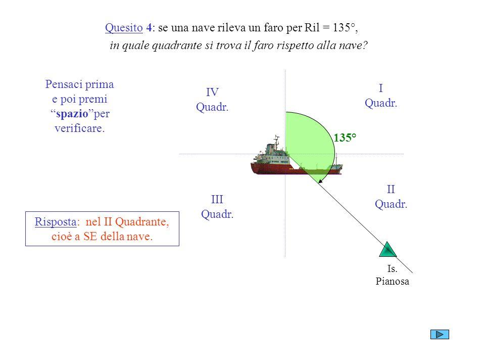 Quesito 4: se una nave rileva un faro per Ril = 135°,