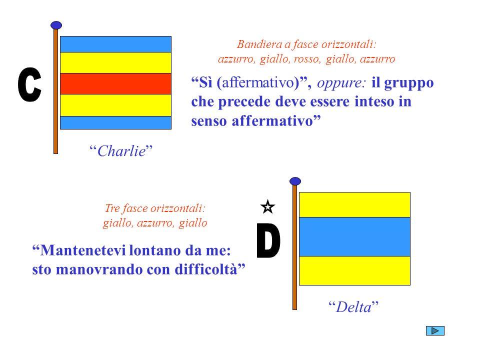 C Charlie Bandiera a fasce orizzontali: azzurro, giallo, rosso, giallo, azzurro.
