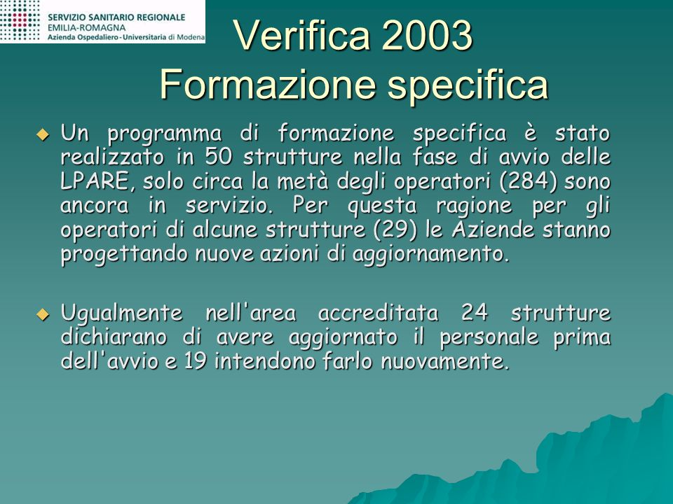 Verifica 2003 Formazione specifica