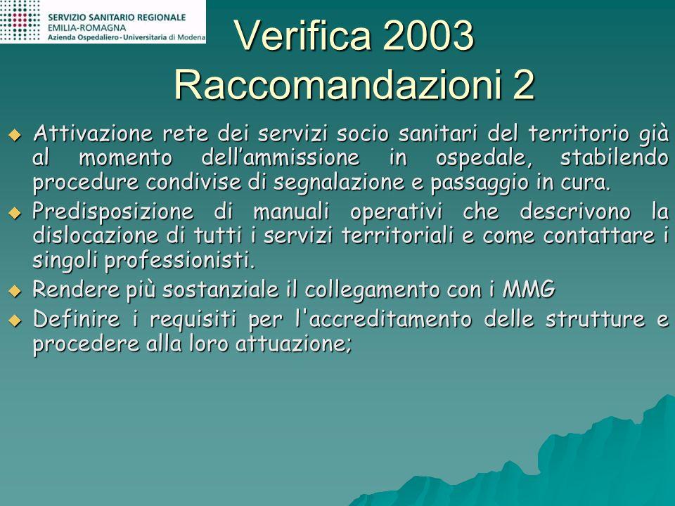 Verifica 2003 Raccomandazioni 2