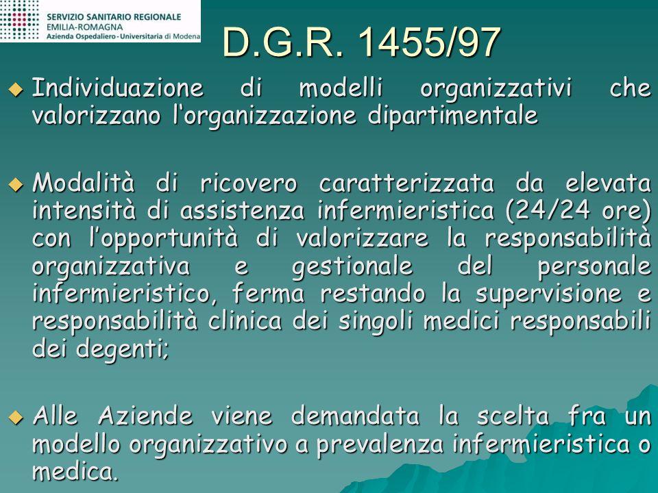 D.G.R. 1455/97 Individuazione di modelli organizzativi che valorizzano l'organizzazione dipartimentale.