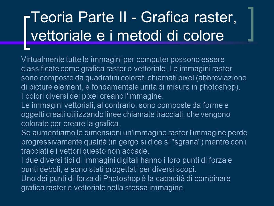 Teoria Parte II - Grafica raster, vettoriale e i metodi di colore