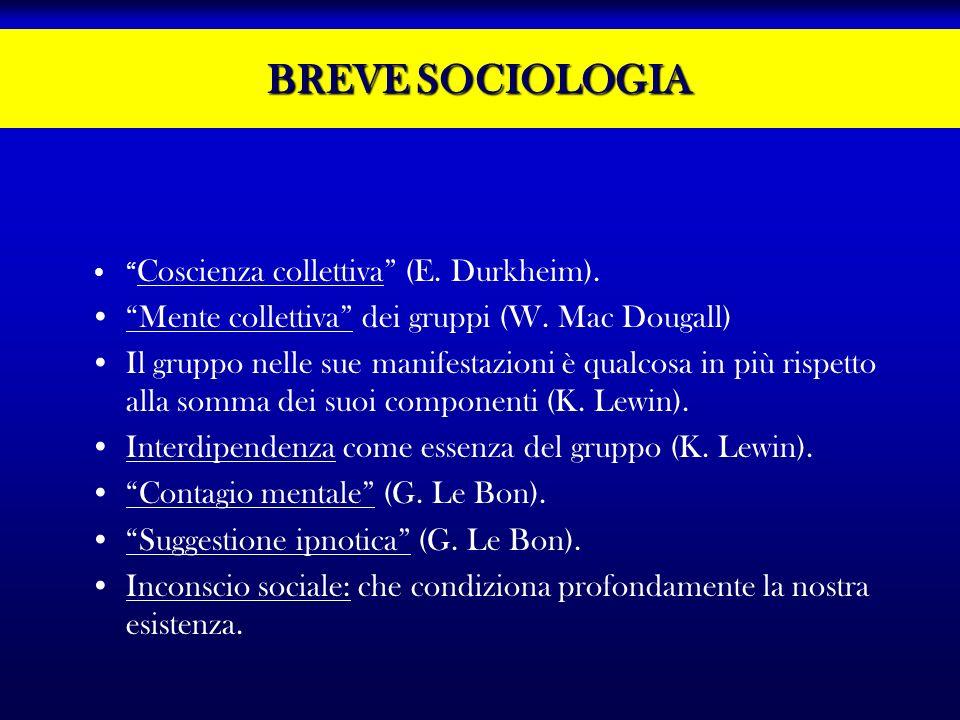 BREVE SOCIOLOGIA Mente collettiva dei gruppi (W. Mac Dougall)