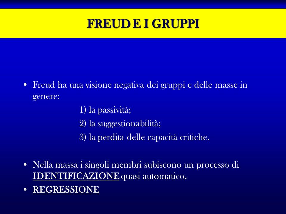 FREUD E I GRUPPI Freud ha una visione negativa dei gruppi e delle masse in genere: 1) la passività;