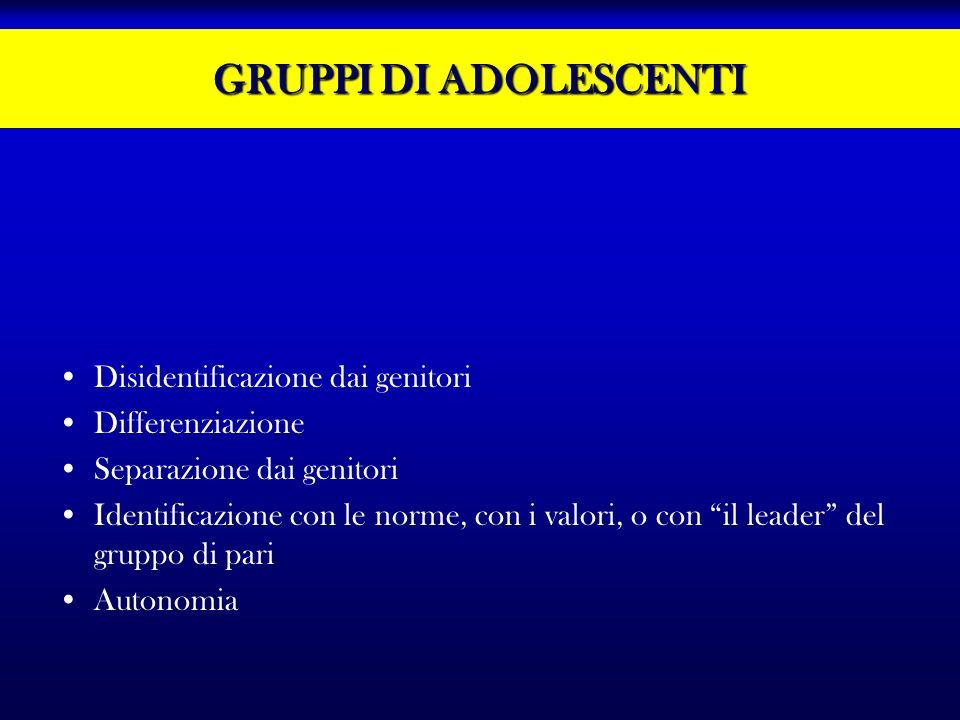 GRUPPI DI ADOLESCENTI Disidentificazione dai genitori Differenziazione