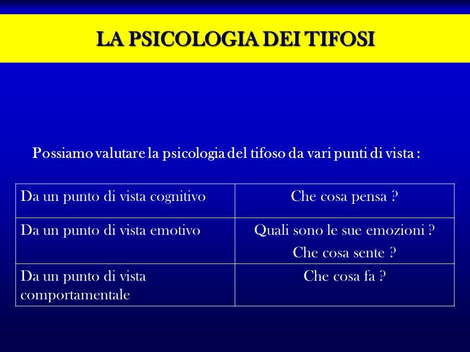 LA PSICOLOGIA DEI TIFOSI