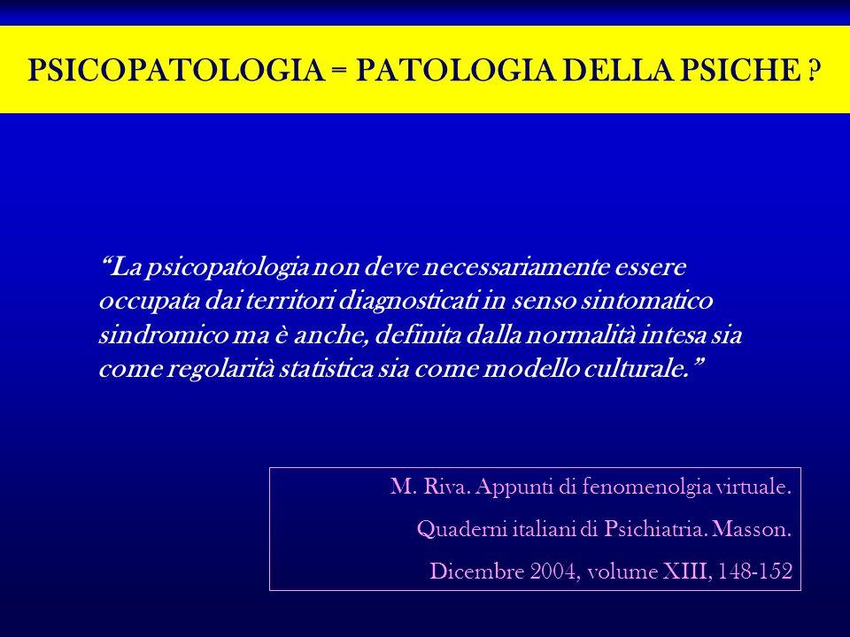PSICOPATOLOGIA = PATOLOGIA DELLA PSICHE