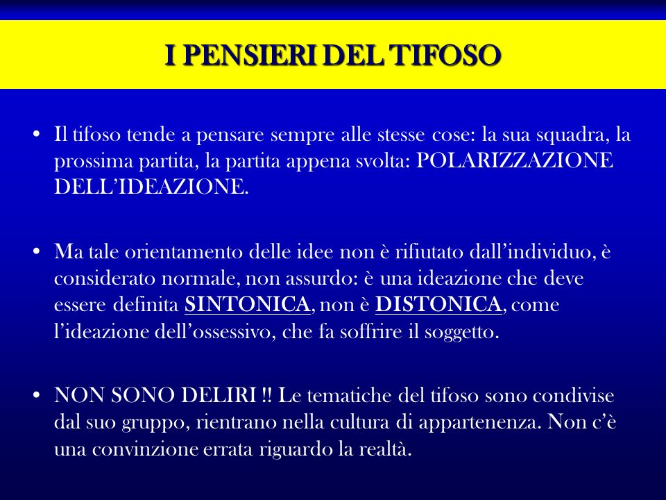 I PENSIERI DEL TIFOSO