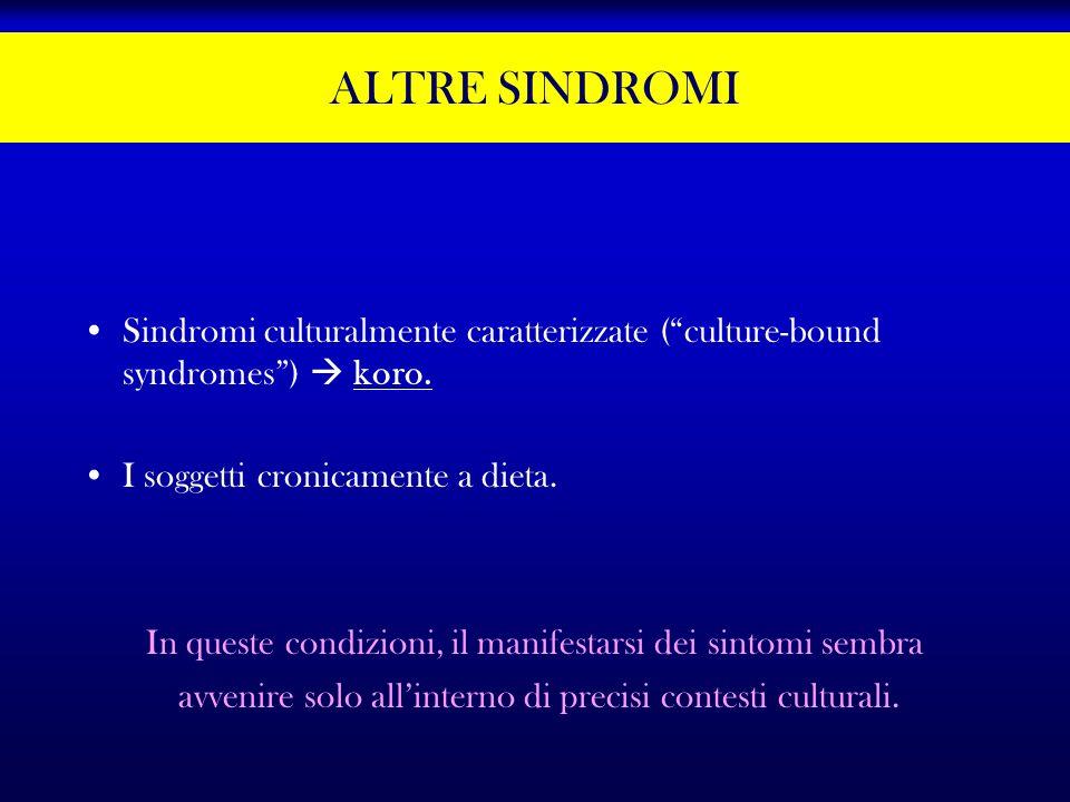 ALTRE SINDROMI Sindromi culturalmente caratterizzate ( culture-bound syndromes )  koro. I soggetti cronicamente a dieta.