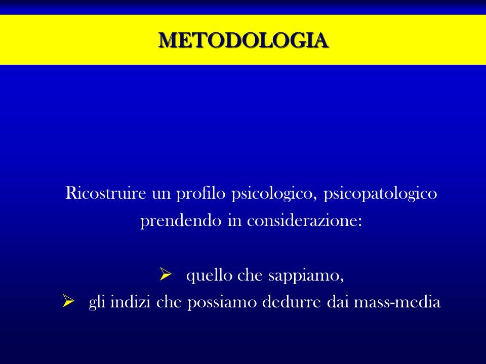 METODOLOGIA Ricostruire un profilo psicologico, psicopatologico