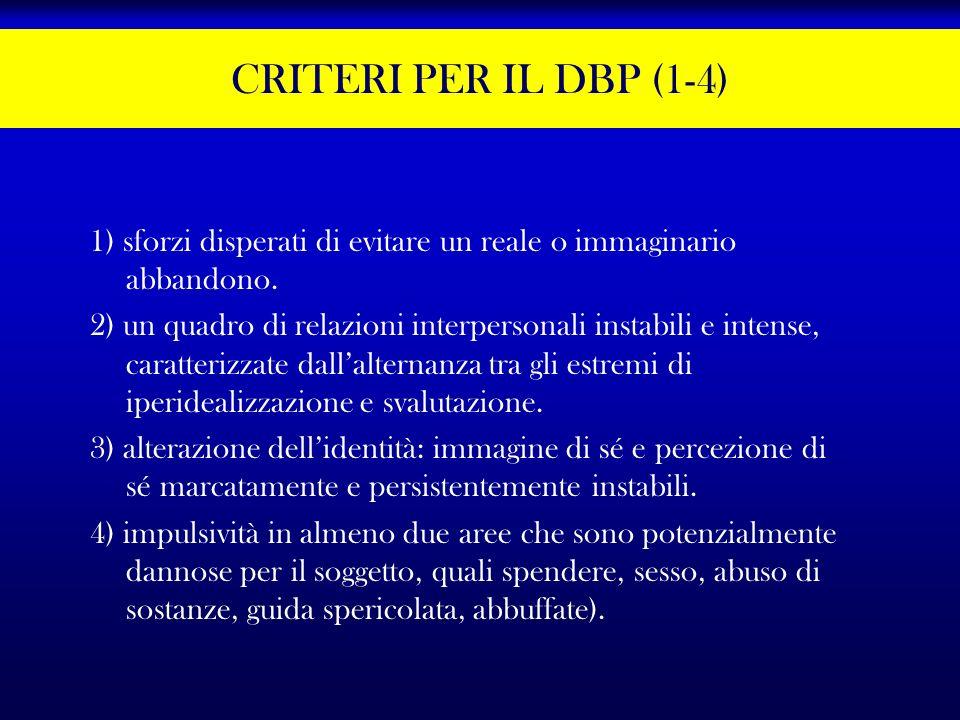 CRITERI PER IL DBP (1-4) 1) sforzi disperati di evitare un reale o immaginario abbandono.