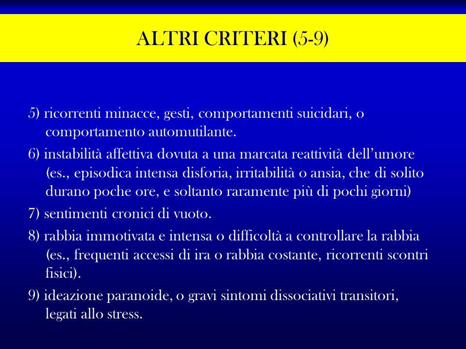 ALTRI CRITERI (5-9) 5) ricorrenti minacce, gesti, comportamenti suicidari, o comportamento automutilante.