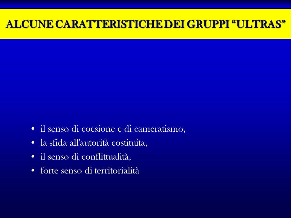 ALCUNE CARATTERISTICHE DEI GRUPPI ULTRAS