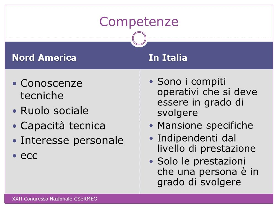 Competenze Conoscenze tecniche Ruolo sociale Capacità tecnica
