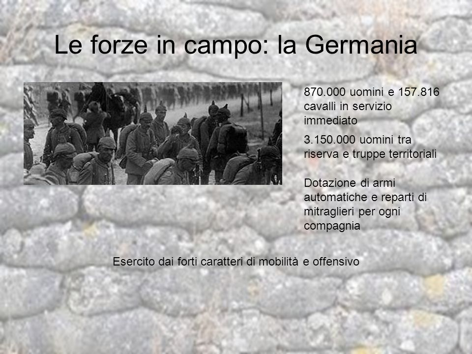 Le forze in campo: la Germania