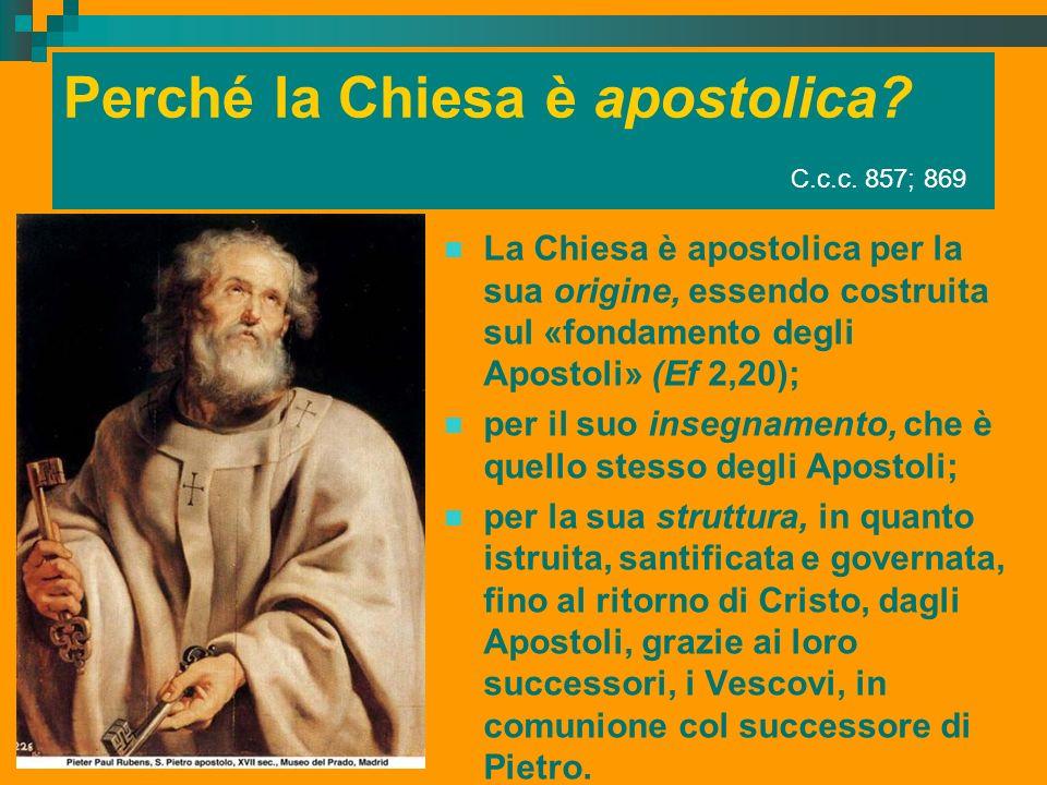 Perché la Chiesa è apostolica C.c.c. 857; 869