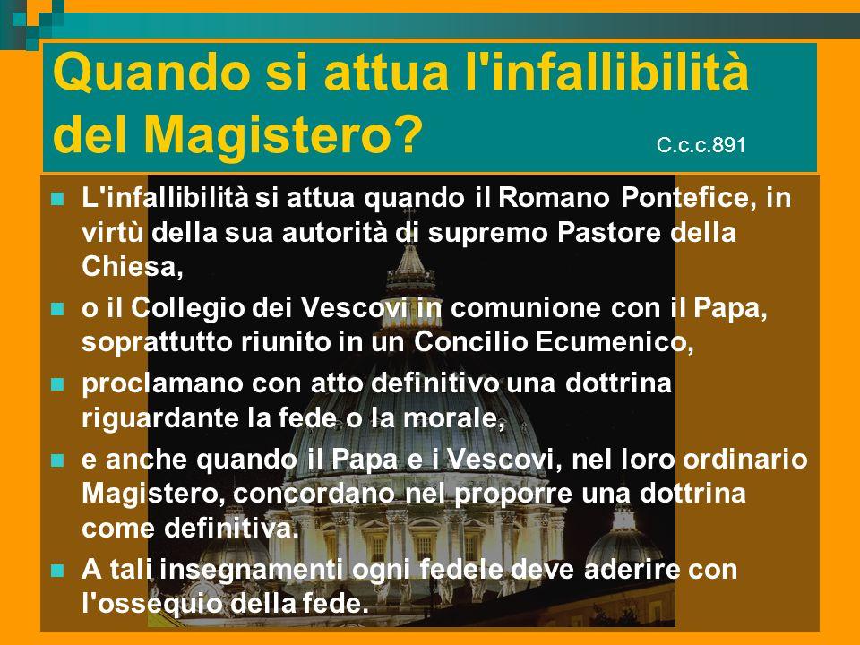 Quando si attua l infallibilità del Magistero C.c.c.891