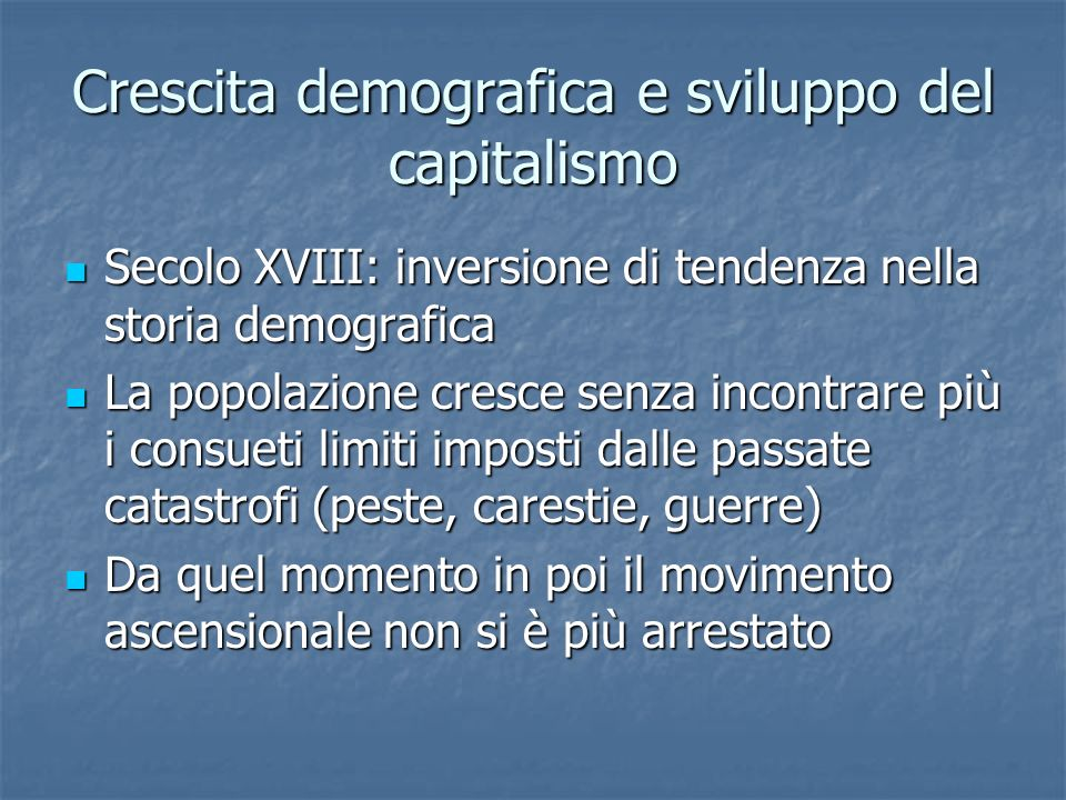 Crescita demografica e sviluppo del capitalismo