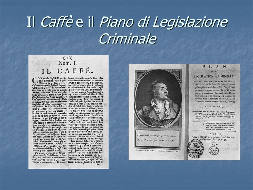 Il Caffè e il Piano di Legislazione Criminale