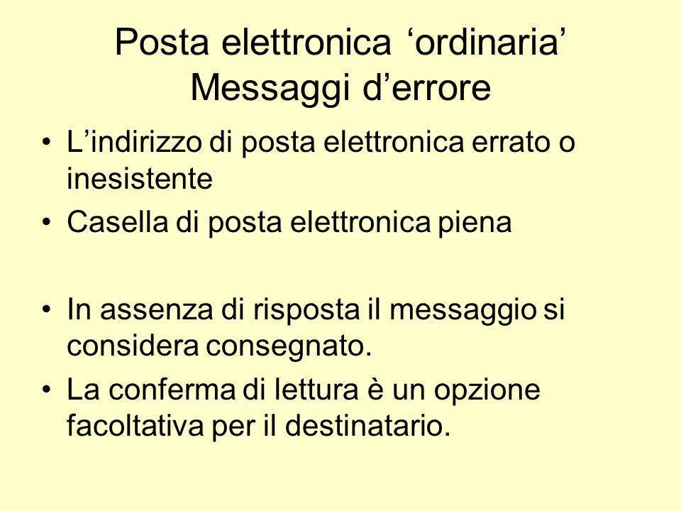 Posta elettronica 'ordinaria' Messaggi d'errore