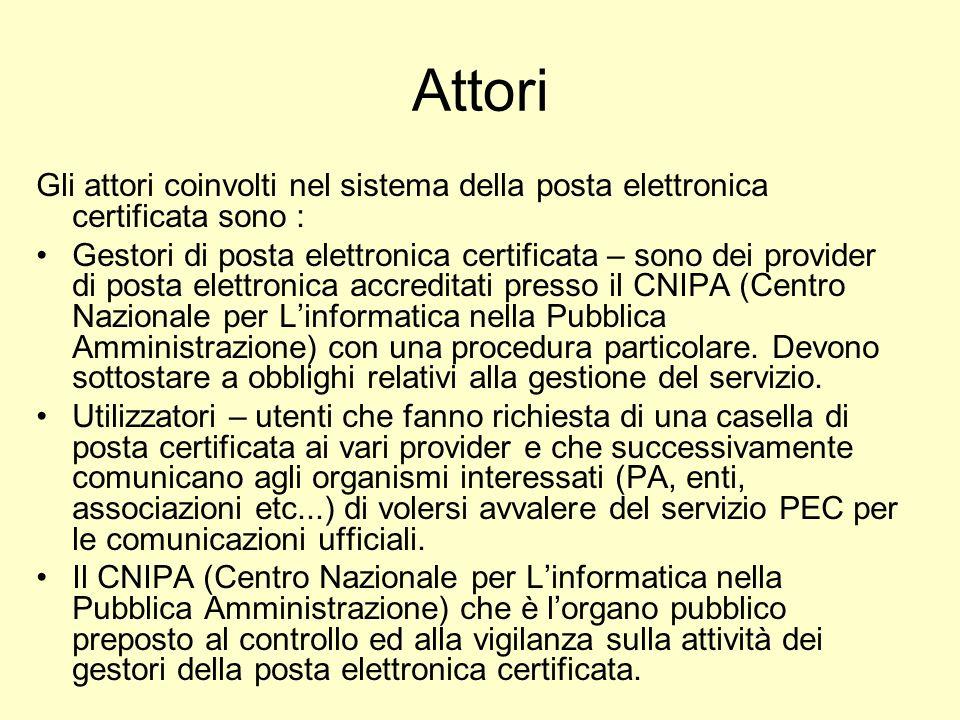 Attori Gli attori coinvolti nel sistema della posta elettronica certificata sono :