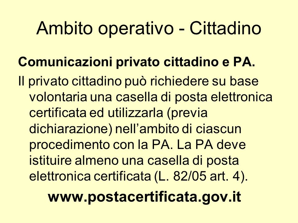 Ambito operativo - Cittadino