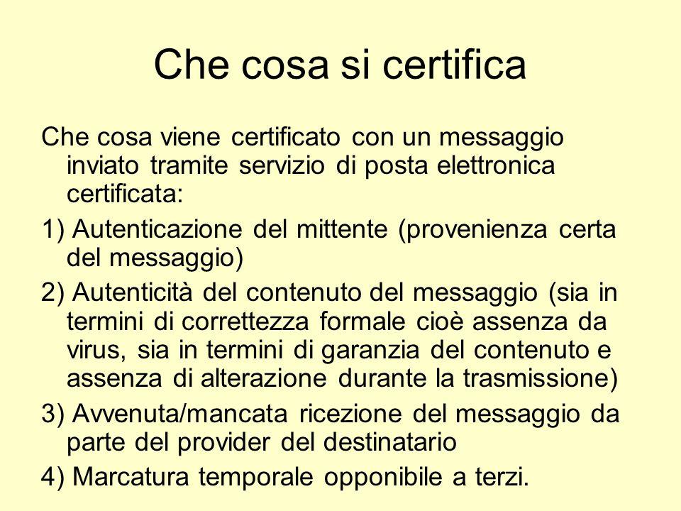 Che cosa si certifica Che cosa viene certificato con un messaggio inviato tramite servizio di posta elettronica certificata: