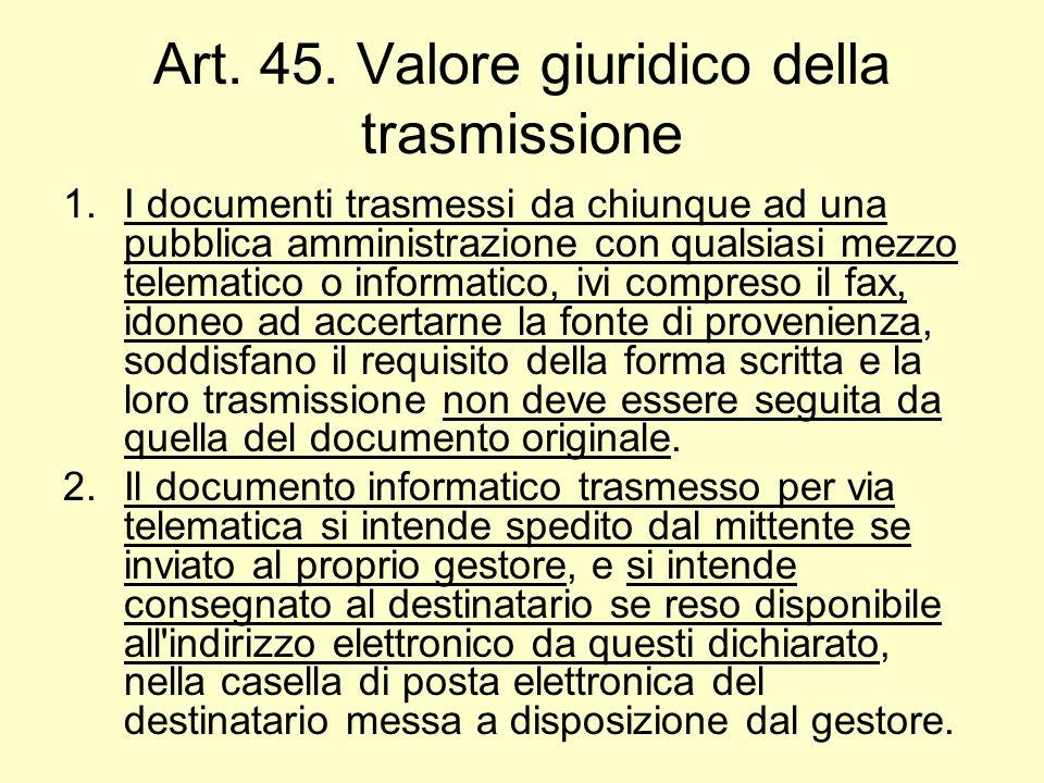 Art. 45. Valore giuridico della trasmissione