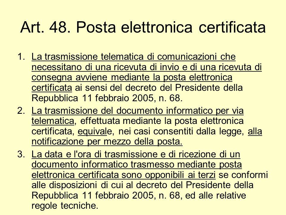 Art. 48. Posta elettronica certificata
