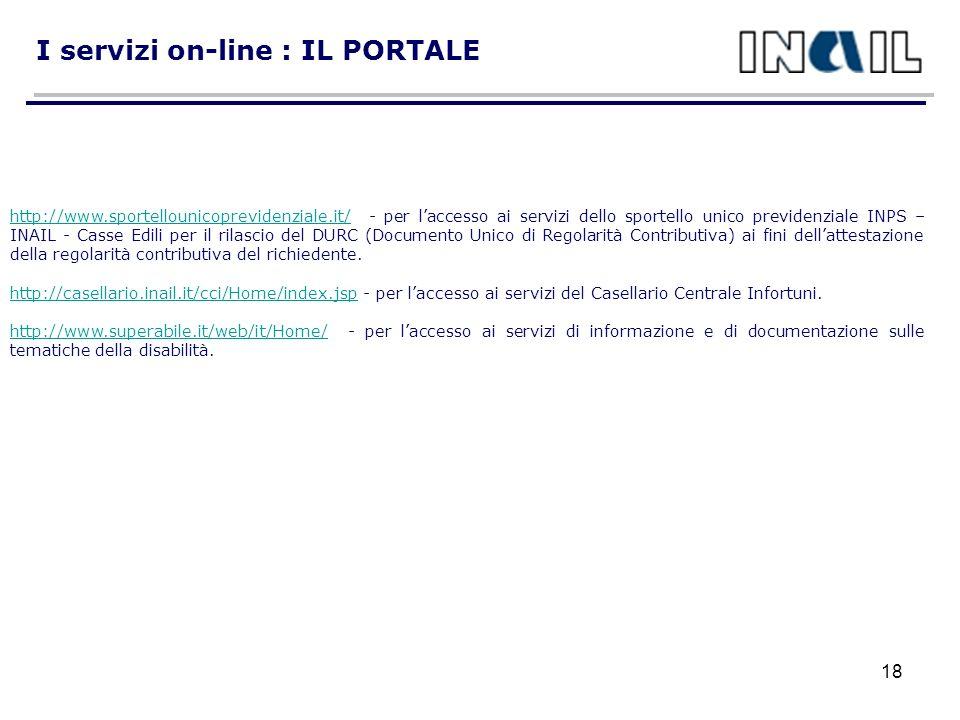 I servizi on-line : IL PORTALE