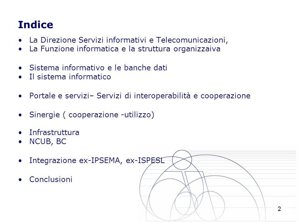Indice La Direzione Servizi informativi e Telecomunicazioni,