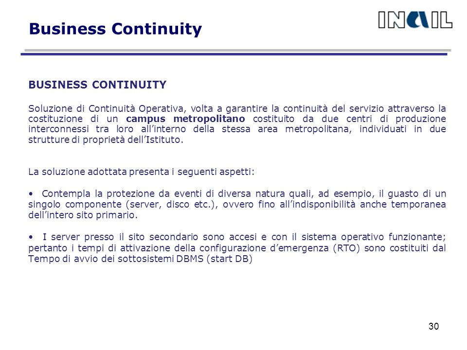 Business Continuity BUSINESS CONTINUITY