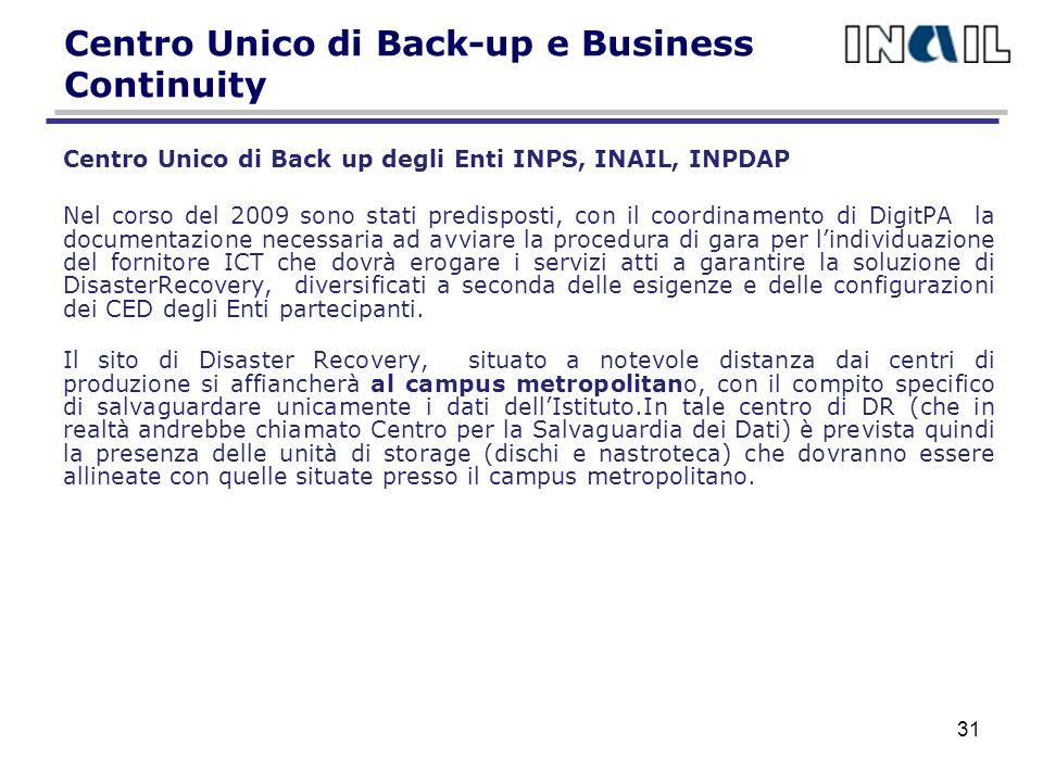 Centro Unico di Back-up e Business Continuity
