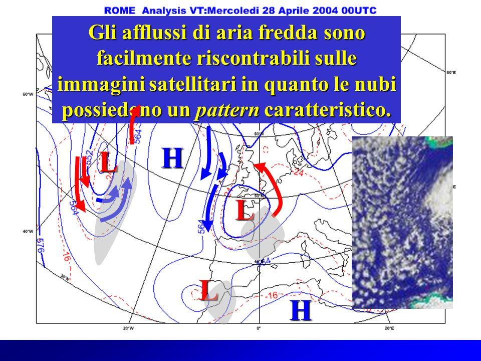 Gli afflussi di aria fredda sono facilmente riscontrabili sulle immagini satellitari in quanto le nubi possiedono un pattern caratteristico.
