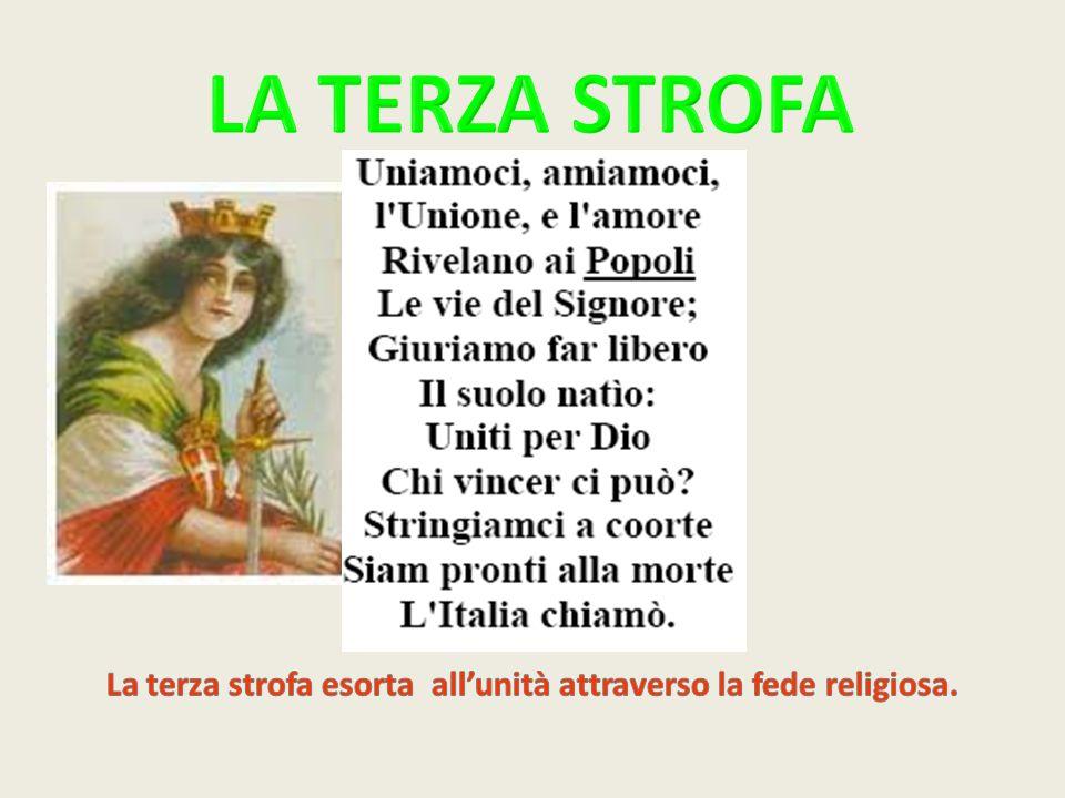 La terza strofa esorta all'unità attraverso la fede religiosa.