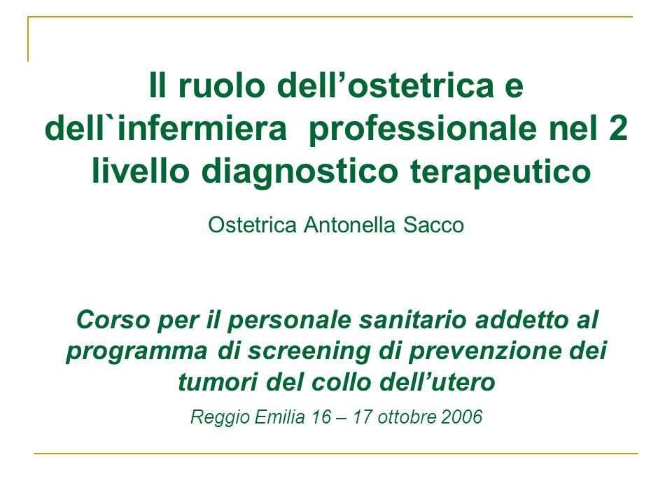 Il ruolo dell'ostetrica e dell`infermiera professionale nel 2 livello diagnostico terapeutico Ostetrica Antonella Sacco Corso per il personale sanitario addetto al programma di screening di prevenzione dei tumori del collo dell'utero Reggio Emilia 16 – 17 ottobre 2006