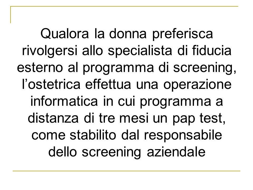 Qualora la donna preferisca rivolgersi allo specialista di fiducia esterno al programma di screening, l'ostetrica effettua una operazione informatica in cui programma a distanza di tre mesi un pap test, come stabilito dal responsabile dello screening aziendale